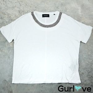 The Kooples White Embellish Linen Jersey Top Size